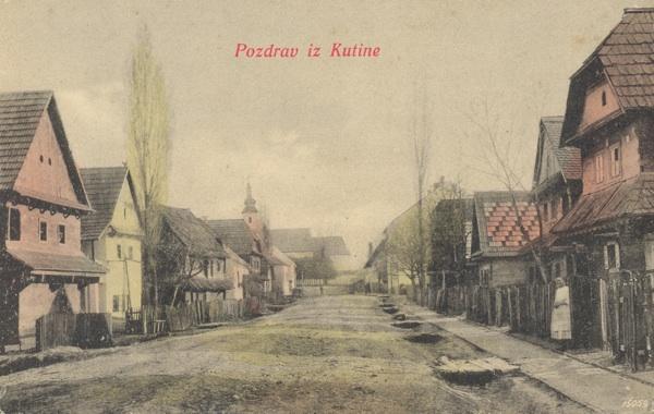 Kutinska Crkvena ulica početkom 20. stoljeća (Razglednica)